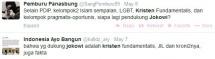 Dua Akun Twitter Ini Sebut Pendukung Jokowi Orang Kristen dan JIL